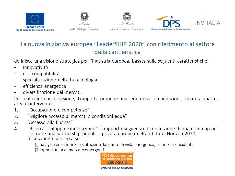 La nuova iniziativa europea LeaderSHIP 2020 , con riferimento al settore della cantieristica definisce una visione strategica per l'industria europea, basata sulle seguenti caratteristiche: -Innovatività -eco-compatibilità -specializzazione nell'alta tecnologia -efficienza energetica -diversificazione dei mercati.