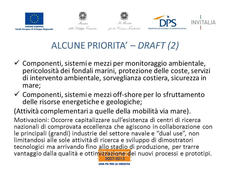 ALCUNE PRIORITA' – DRAFT (2) Componenti, sistemi e mezzi per monitoraggio ambientale, pericolosità dei fondali marini, protezione delle coste, servizi