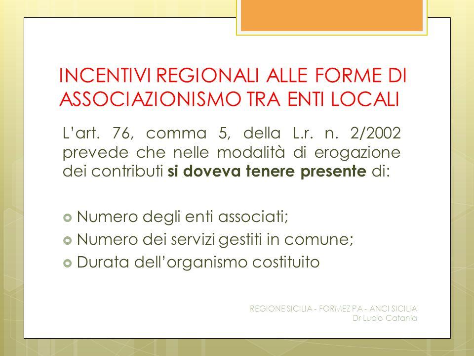 INCENTIVI REGIONALI ALLE FORME DI ASSOCIAZIONISMO TRA ENTI LOCALI L'art. 76, comma 5, della L.r. n. 2/2002 prevede che nelle modalità di erogazione de