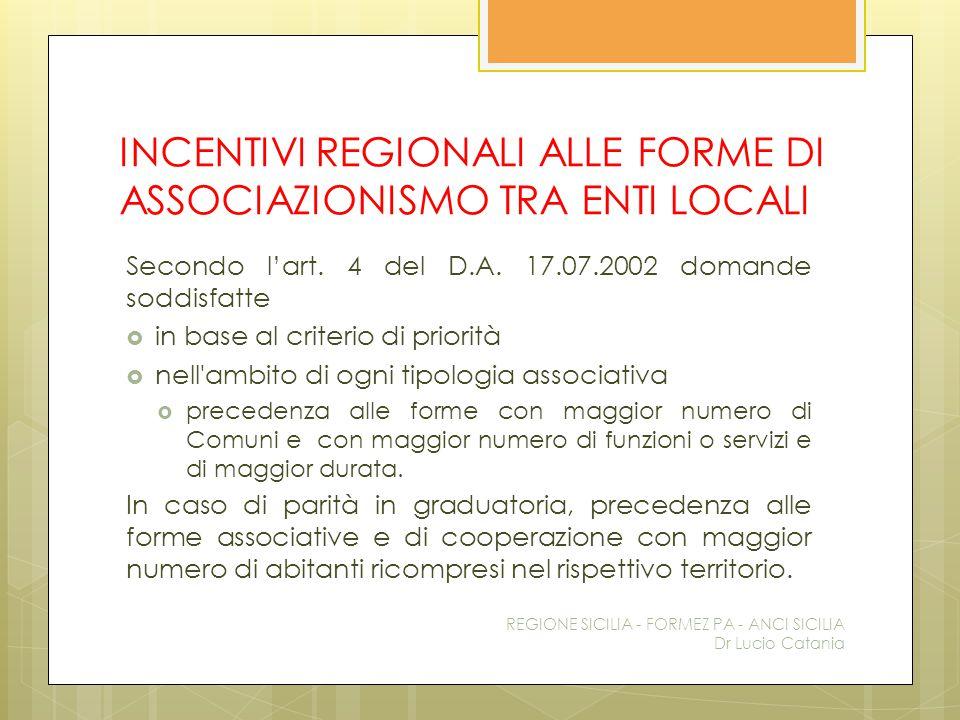 INCENTIVI REGIONALI ALLE FORME DI ASSOCIAZIONISMO TRA ENTI LOCALI Secondo l'art. 4 del D.A. 17.07.2002 domande soddisfatte  in base al criterio di pr