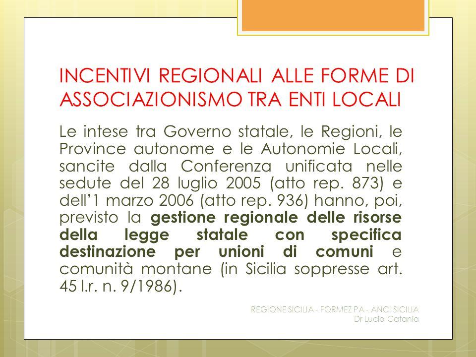 INCENTIVI REGIONALI ALLE FORME DI ASSOCIAZIONISMO TRA ENTI LOCALI Le intese tra Governo statale, le Regioni, le Province autonome e le Autonomie Local