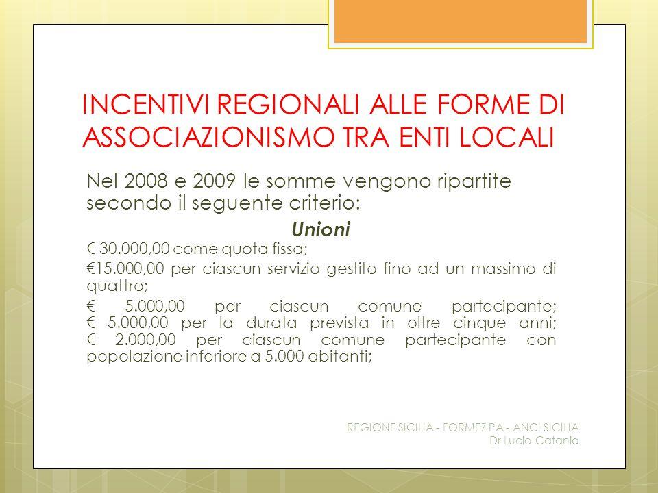 INCENTIVI REGIONALI ALLE FORME DI ASSOCIAZIONISMO TRA ENTI LOCALI Nel 2008 e 2009 le somme vengono ripartite secondo il seguente criterio: Unioni € 30