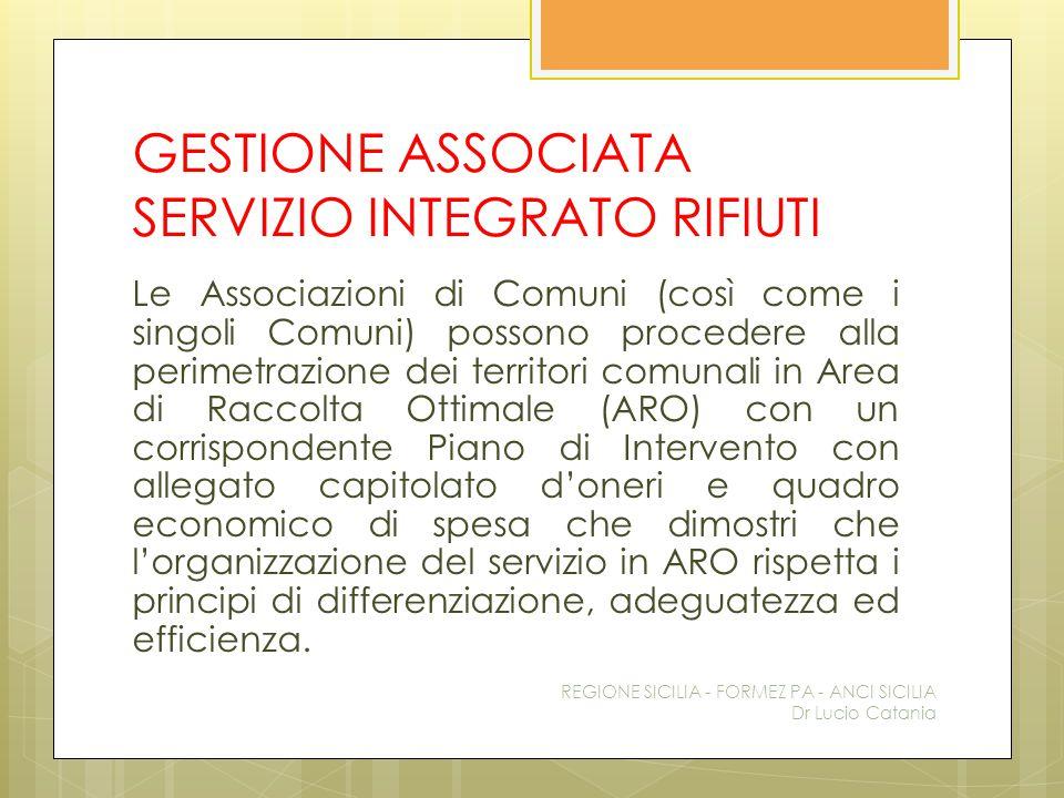 GESTIONE ASSOCIATA SERVIZIO INTEGRATO RIFIUTI Le Associazioni di Comuni (così come i singoli Comuni) possono procedere alla perimetrazione dei territo