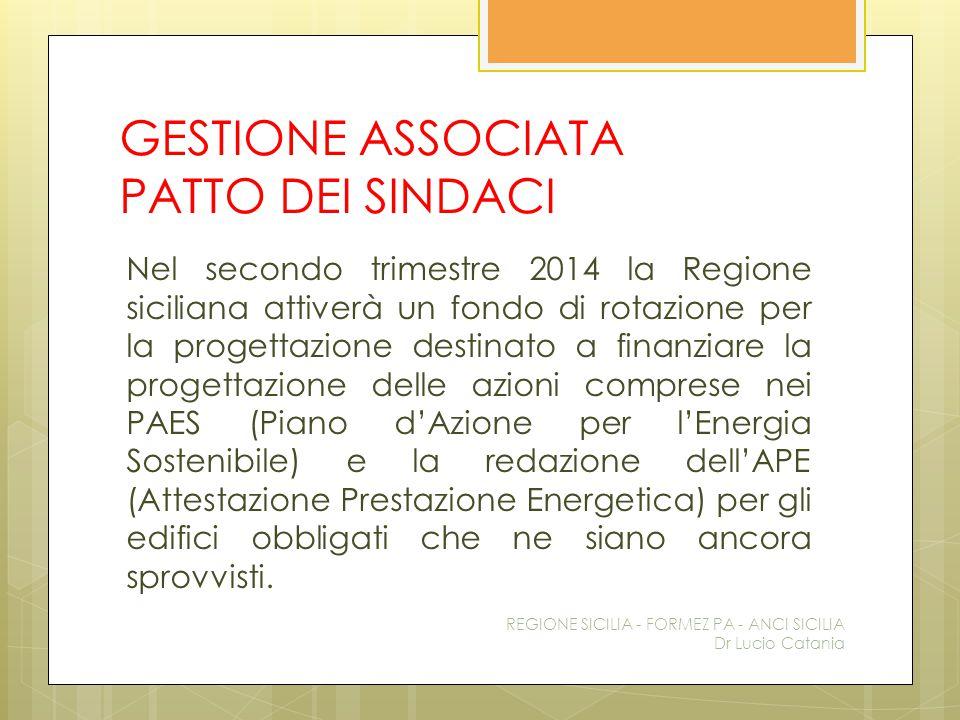 GESTIONE ASSOCIATA PATTO DEI SINDACI Nel secondo trimestre 2014 la Regione siciliana attiverà un fondo di rotazione per la progettazione destinato a f