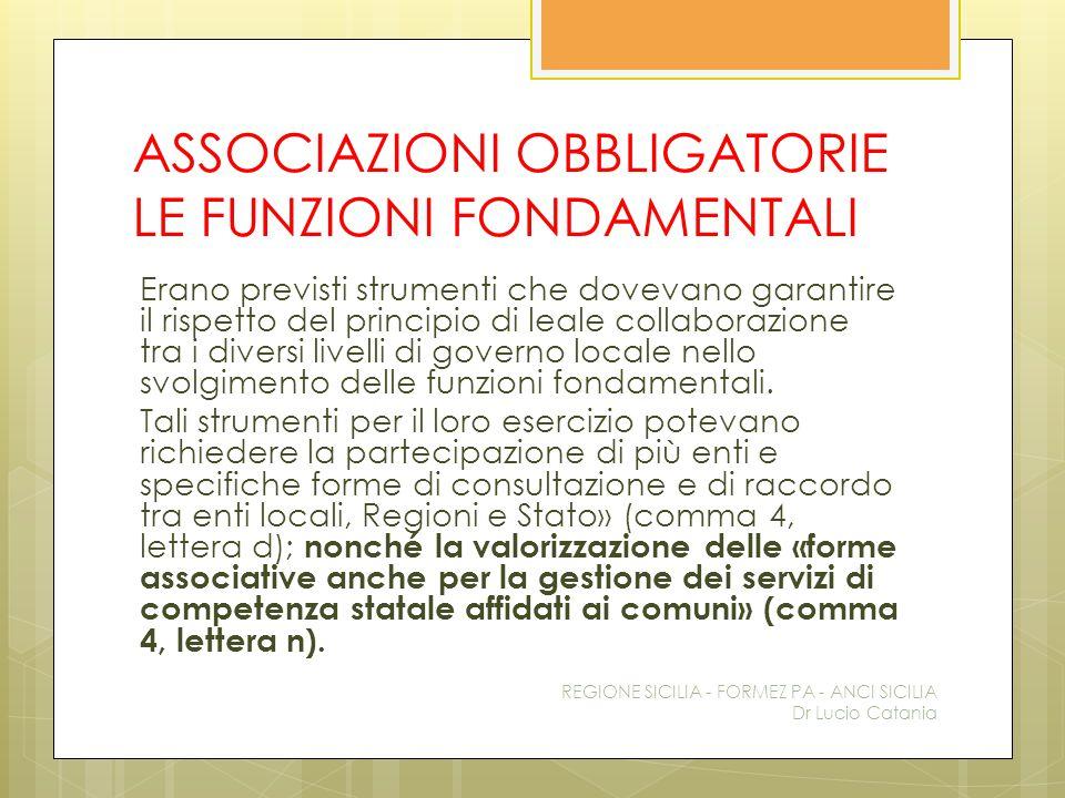 ASSOCIAZIONI OBBLIGATORIE LE FUNZIONI FONDAMENTALI Erano previsti strumenti che dovevano garantire il rispetto del principio di leale collaborazione t