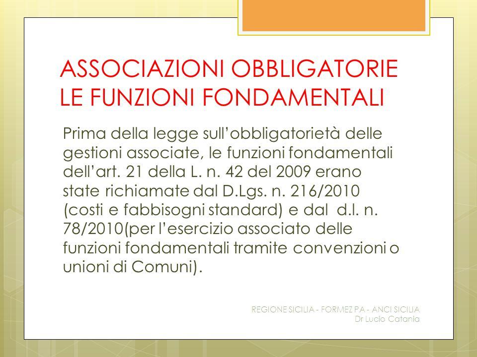 ASSOCIAZIONI OBBLIGATORIE LE FUNZIONI FONDAMENTALI Prima della legge sull'obbligatorietà delle gestioni associate, le funzioni fondamentali dell'art.