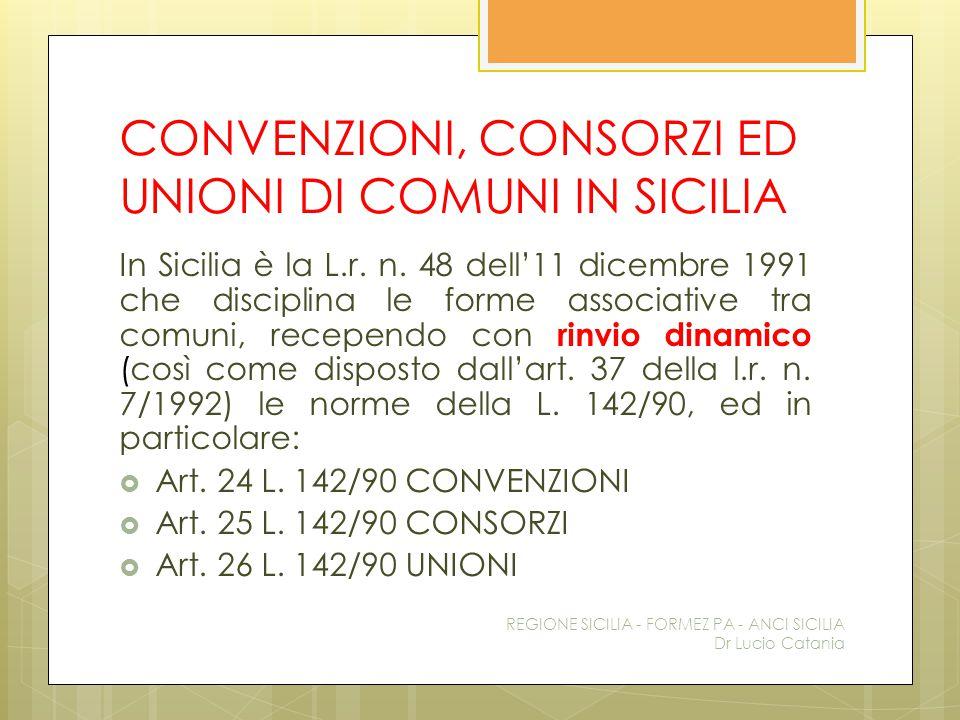 CONVENZIONI, CONSORZI ED UNIONI DI COMUNI IN SICILIA In Sicilia è la L.r. n. 48 dell'11 dicembre 1991 che disciplina le forme associative tra comuni,