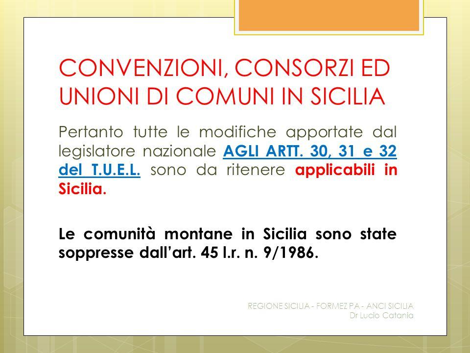 CONVENZIONI, CONSORZI ED UNIONI DI COMUNI IN SICILIA Pertanto tutte le modifiche apportate dal legislatore nazionale AGLI ARTT. 30, 31 e 32 del T.U.E.