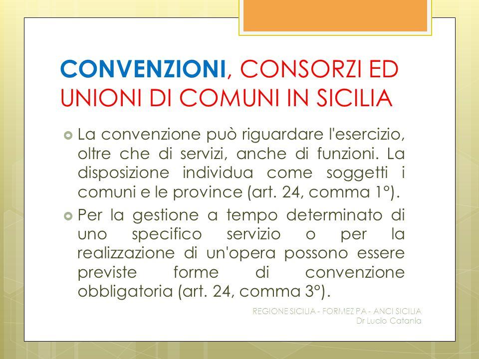 CONVENZIONI, CONSORZI ED UNIONI DI COMUNI IN SICILIA  La convenzione può riguardare l'esercizio, oltre che di servizi, anche di funzioni. La disposiz