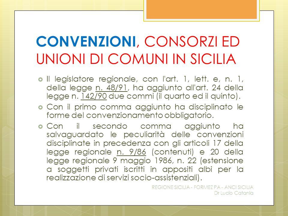 CONVENZIONI, CONSORZI ED UNIONI DI COMUNI IN SICILIA  Il legislatore regionale, con l'art. 1, lett. e, n. 1, della legge n. 48/91, ha aggiunto all'ar