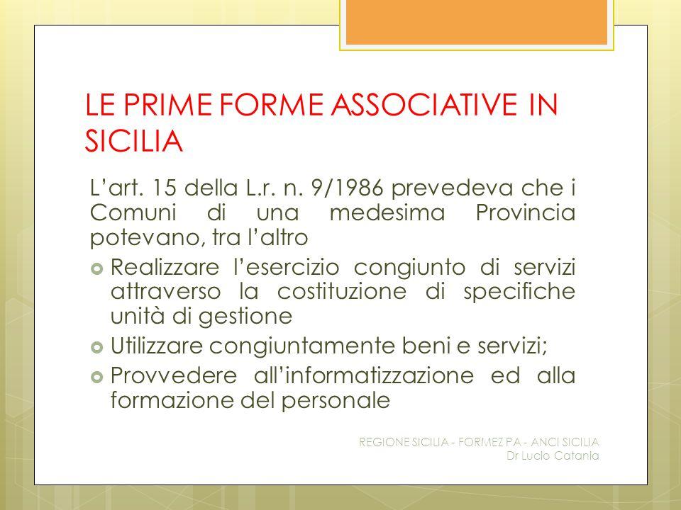 LE PRIME FORME ASSOCIATIVE IN SICILIA L'art. 15 della L.r. n. 9/1986 prevedeva che i Comuni di una medesima Provincia potevano, tra l'altro  Realizza