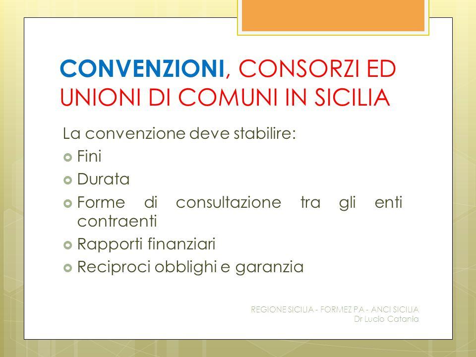 CONVENZIONI, CONSORZI ED UNIONI DI COMUNI IN SICILIA La convenzione deve stabilire:  Fini  Durata  Forme di consultazione tra gli enti contraenti 