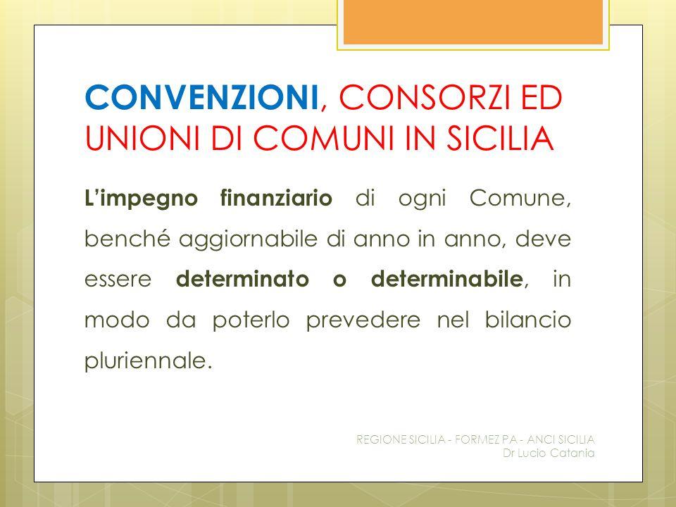 CONVENZIONI, CONSORZI ED UNIONI DI COMUNI IN SICILIA L'impegno finanziario di ogni Comune, benché aggiornabile di anno in anno, deve essere determinat