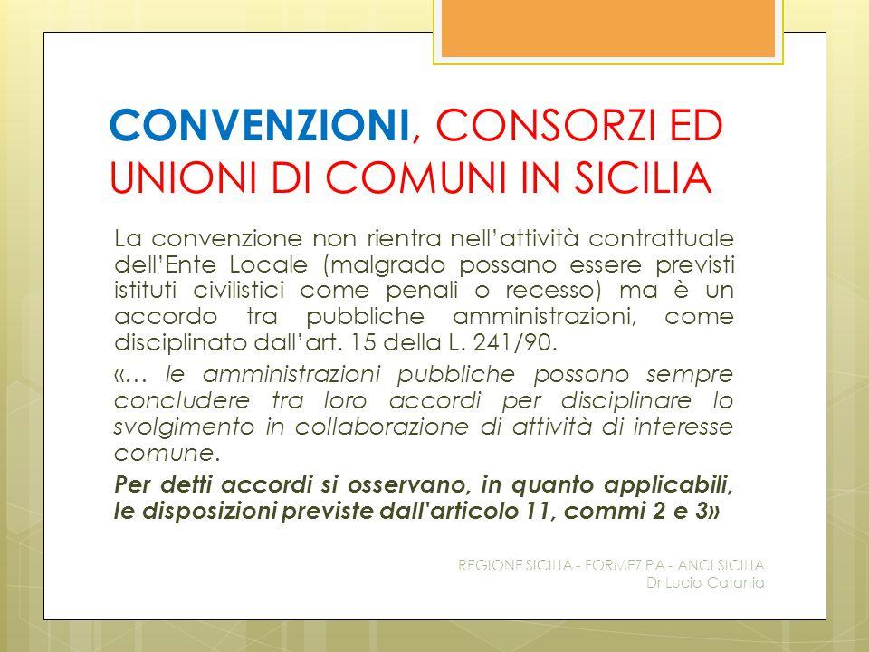 CONVENZIONI, CONSORZI ED UNIONI DI COMUNI IN SICILIA La convenzione non rientra nell'attività contrattuale dell'Ente Locale (malgrado possano essere p