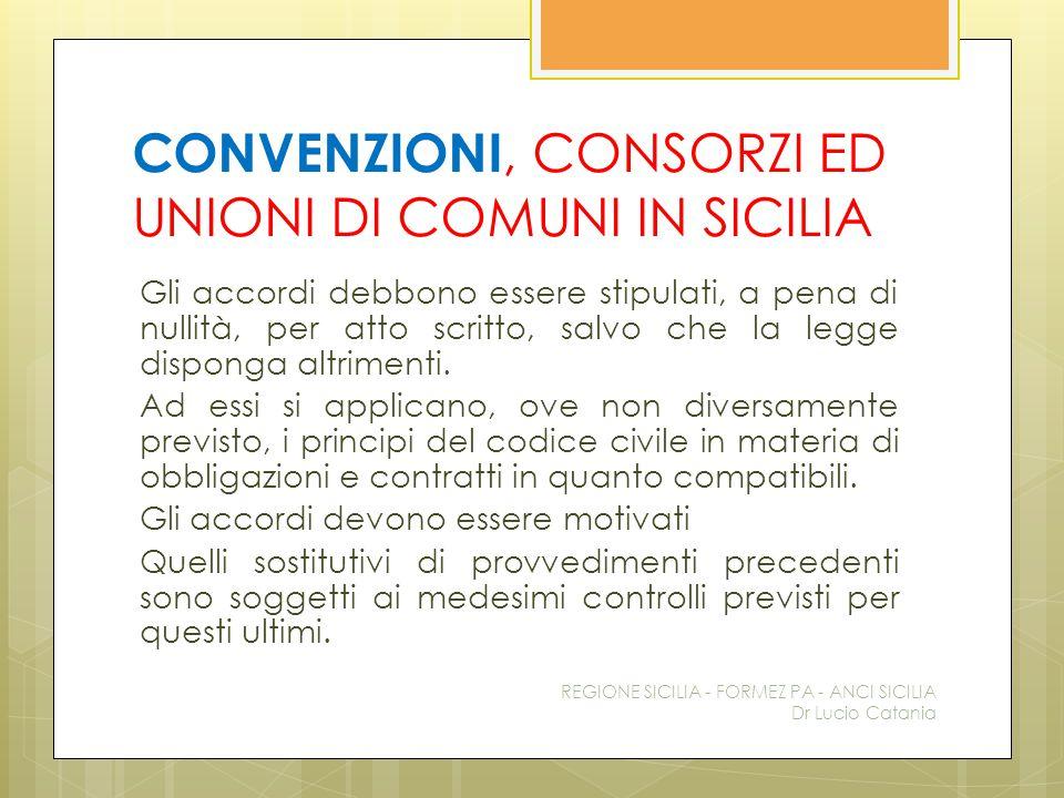 CONVENZIONI, CONSORZI ED UNIONI DI COMUNI IN SICILIA Gli accordi debbono essere stipulati, a pena di nullità, per atto scritto, salvo che la legge dis