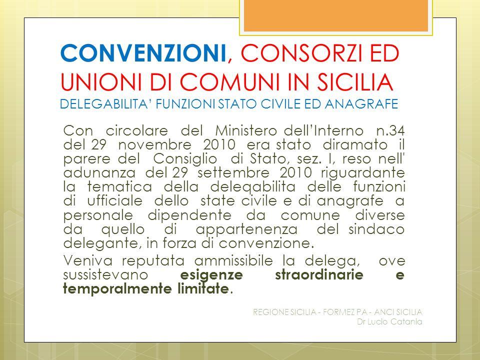 CONVENZIONI, CONSORZI ED UNIONI DI COMUNI IN SICILIA DELEGABILITA' FUNZIONI STATO CIVILE ED ANAGRAFE Con circolare del Ministero dell'Interno n.34 del