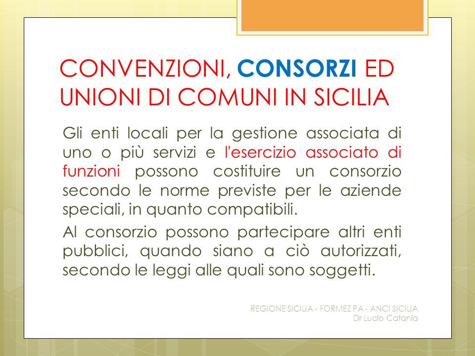 CONVENZIONI, CONSORZI ED UNIONI DI COMUNI IN SICILIA Gli enti locali per la gestione associata di uno o più servizi e l'esercizio associato di funzion