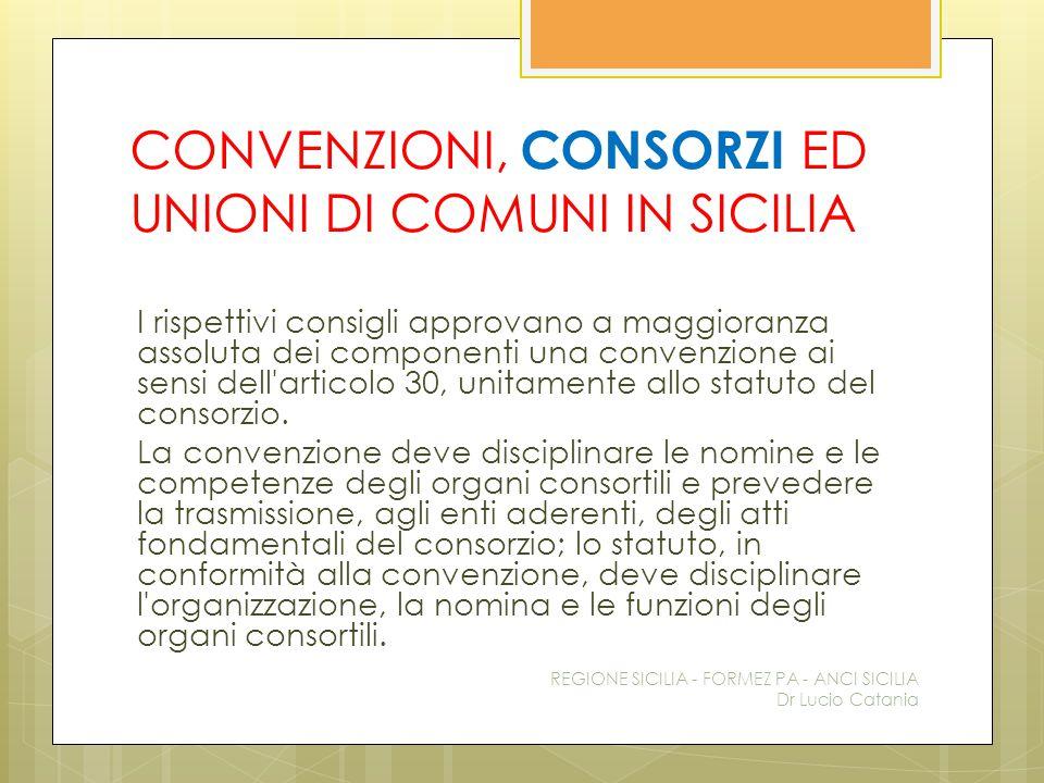 CONVENZIONI, CONSORZI ED UNIONI DI COMUNI IN SICILIA I rispettivi consigli approvano a maggioranza assoluta dei componenti una convenzione ai sensi de