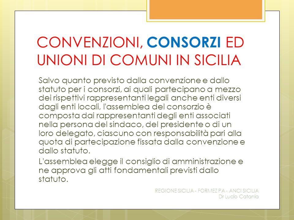 CONVENZIONI, CONSORZI ED UNIONI DI COMUNI IN SICILIA Salvo quanto previsto dalla convenzione e dallo statuto per i consorzi, ai quali partecipano a me