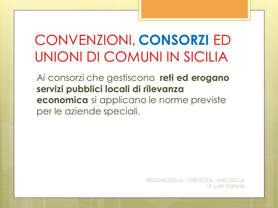 CONVENZIONI, CONSORZI ED UNIONI DI COMUNI IN SICILIA Ai consorzi che gestiscono reti ed erogano servizi pubblici locali di rilevanza economica si appl