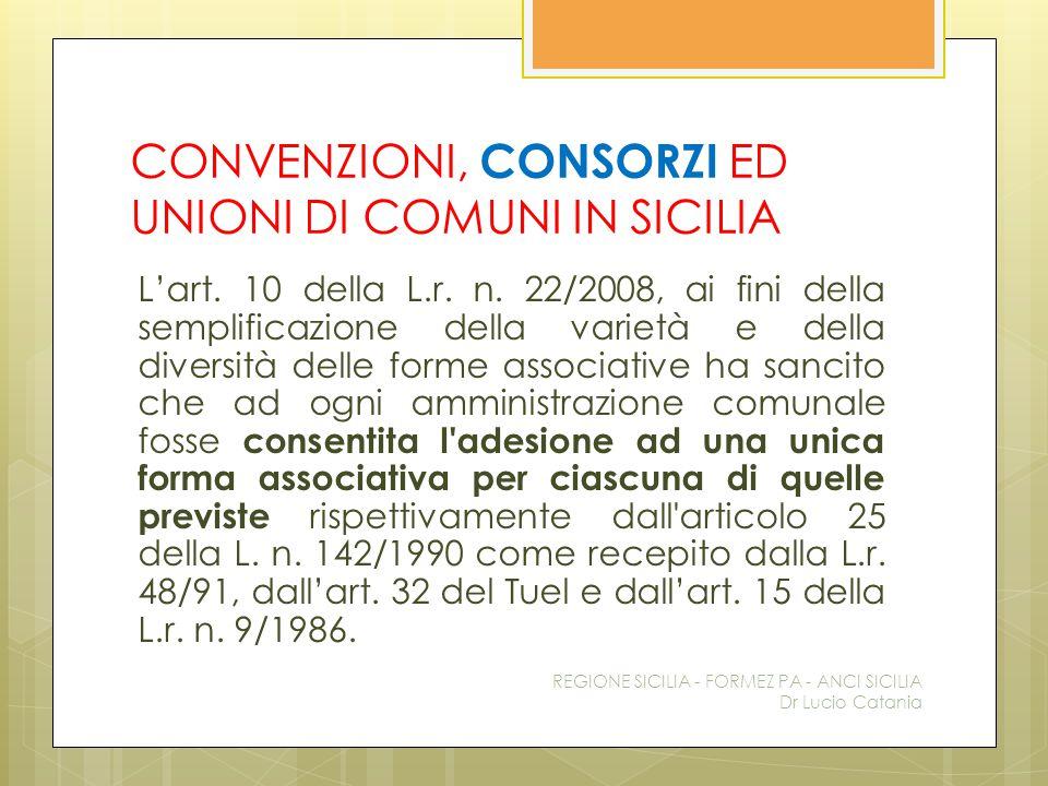 CONVENZIONI, CONSORZI ED UNIONI DI COMUNI IN SICILIA L'art. 10 della L.r. n. 22/2008, ai fini della semplificazione della varietà e della diversità de