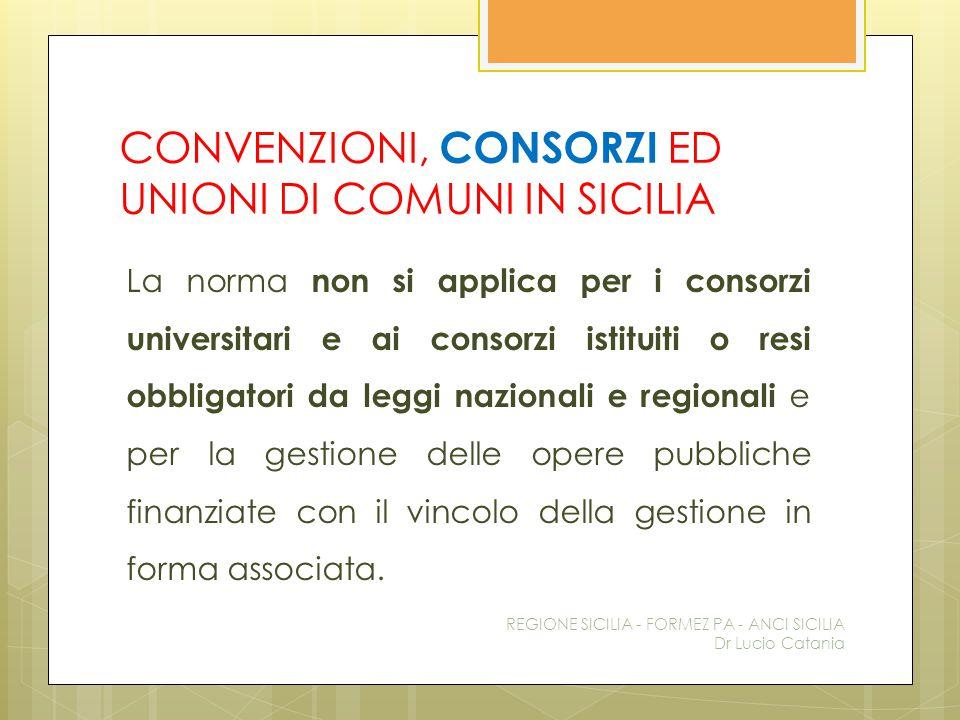 CONVENZIONI, CONSORZI ED UNIONI DI COMUNI IN SICILIA La norma non si applica per i consorzi universitari e ai consorzi istituiti o resi obbligatori da