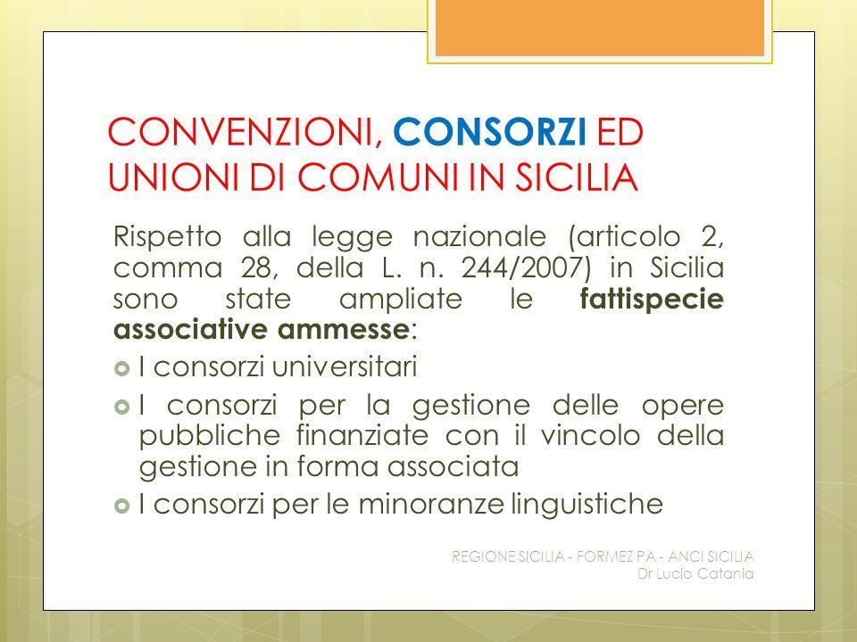 CONVENZIONI, CONSORZI ED UNIONI DI COMUNI IN SICILIA Rispetto alla legge nazionale (articolo 2, comma 28, della L. n. 244/2007) in Sicilia sono state