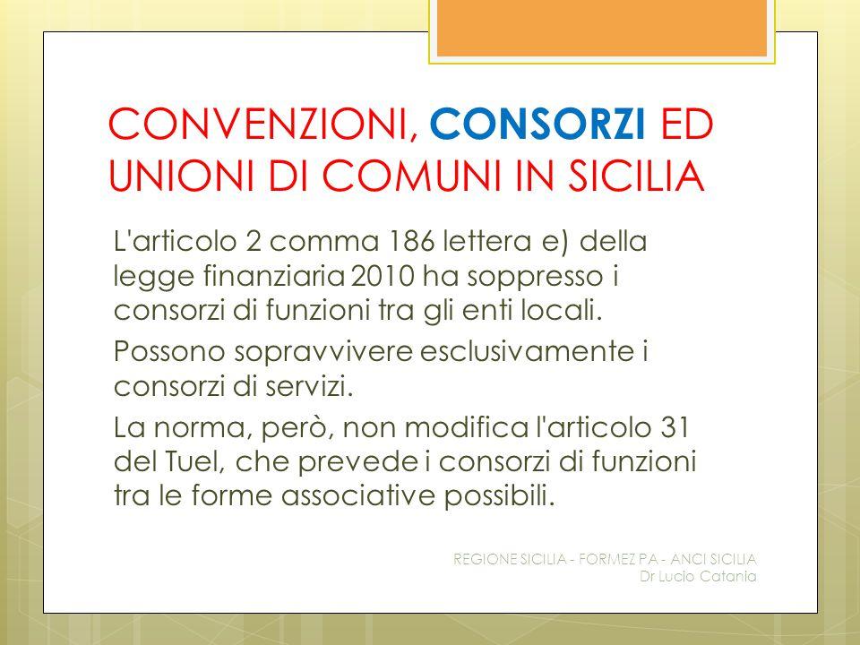 CONVENZIONI, CONSORZI ED UNIONI DI COMUNI IN SICILIA L'articolo 2 comma 186 lettera e) della legge finanziaria 2010 ha soppresso i consorzi di funzion