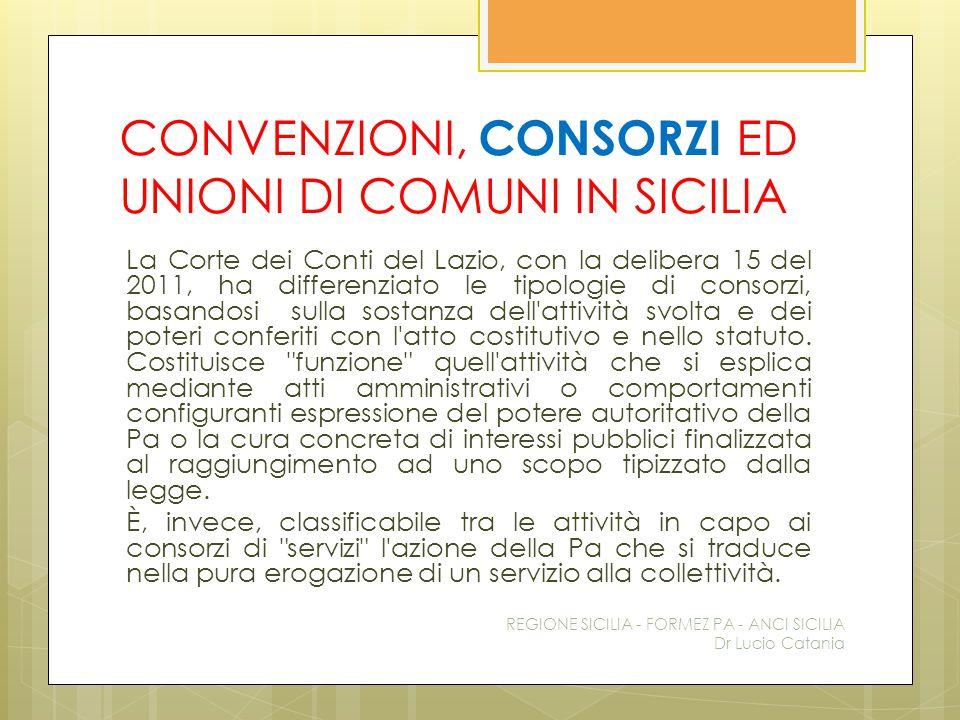 CONVENZIONI, CONSORZI ED UNIONI DI COMUNI IN SICILIA La Corte dei Conti del Lazio, con la delibera 15 del 2011, ha differenziato le tipologie di conso