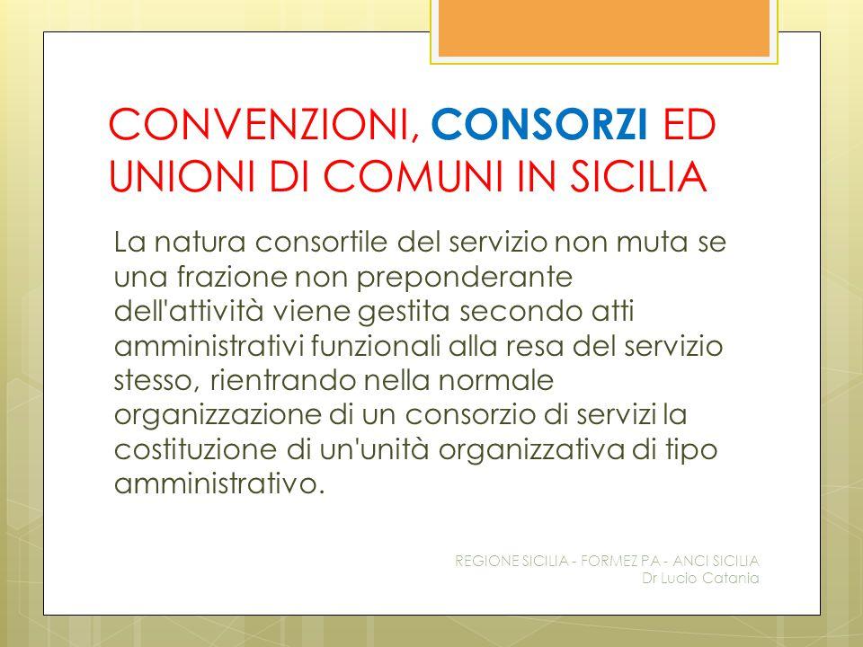 CONVENZIONI, CONSORZI ED UNIONI DI COMUNI IN SICILIA La natura consortile del servizio non muta se una frazione non preponderante dell'attività viene
