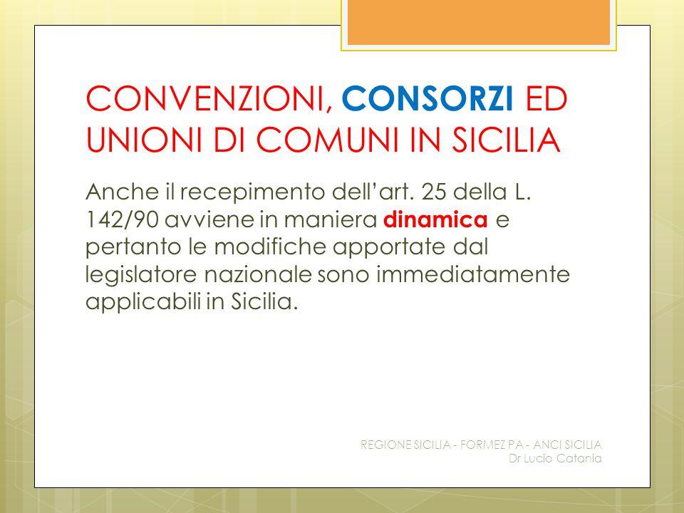 CONVENZIONI, CONSORZI ED UNIONI DI COMUNI IN SICILIA Anche il recepimento dell'art. 25 della L. 142/90 avviene in maniera dinamica e pertanto le modif