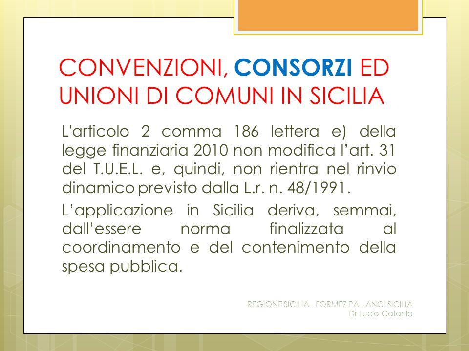 CONVENZIONI, CONSORZI ED UNIONI DI COMUNI IN SICILIA L'articolo 2 comma 186 lettera e) della legge finanziaria 2010 non modifica l'art. 31 del T.U.E.L