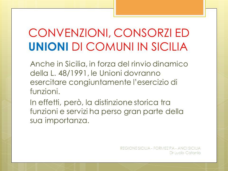 CONVENZIONI, CONSORZI ED UNIONI DI COMUNI IN SICILIA Anche in Sicilia, in forza del rinvio dinamico della L. 48/1991, le Unioni dovranno esercitare co
