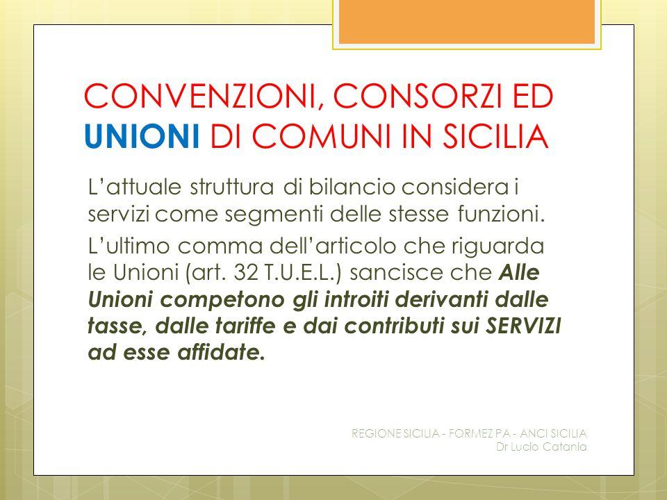 CONVENZIONI, CONSORZI ED UNIONI DI COMUNI IN SICILIA L'attuale struttura di bilancio considera i servizi come segmenti delle stesse funzioni. L'ultimo