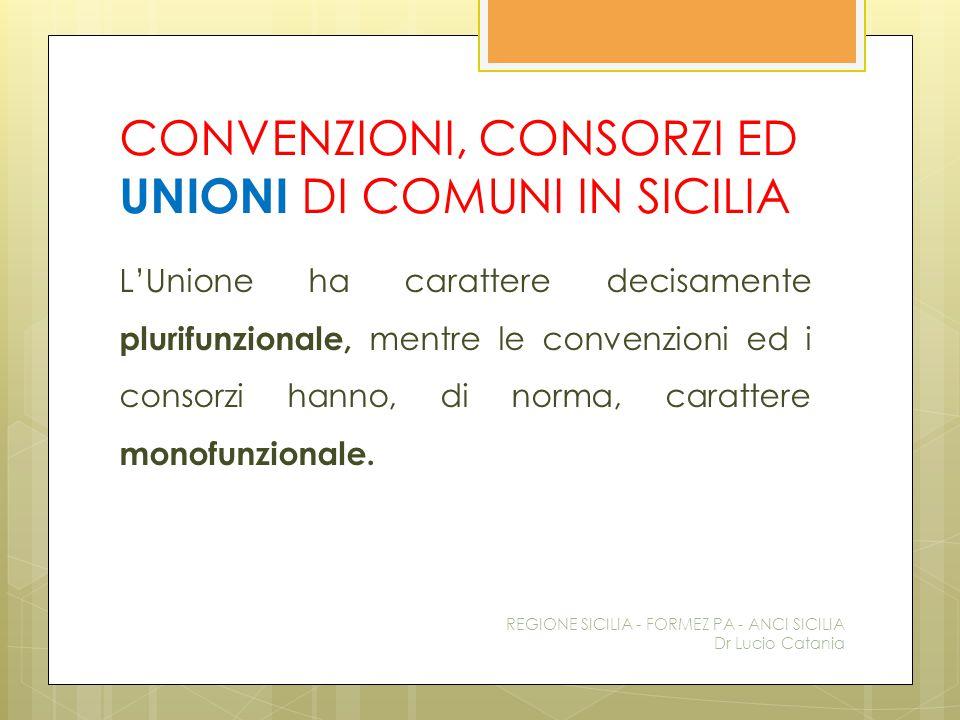 CONVENZIONI, CONSORZI ED UNIONI DI COMUNI IN SICILIA L'Unione ha carattere decisamente plurifunzionale, mentre le convenzioni ed i consorzi hanno, di