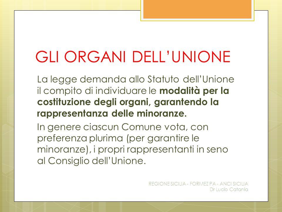 GLI ORGANI DELL'UNIONE La legge demanda allo Statuto dell'Unione il compito di individuare le modalità per la costituzione degli organi, garantendo la