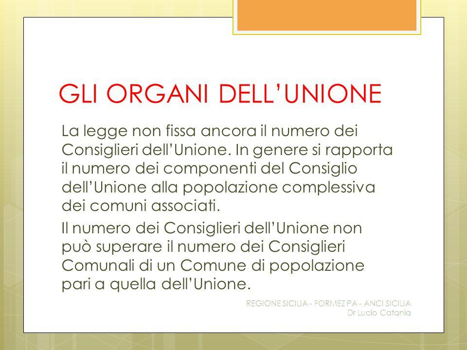 GLI ORGANI DELL'UNIONE La legge non fissa ancora il numero dei Consiglieri dell'Unione. In genere si rapporta il numero dei componenti del Consiglio d