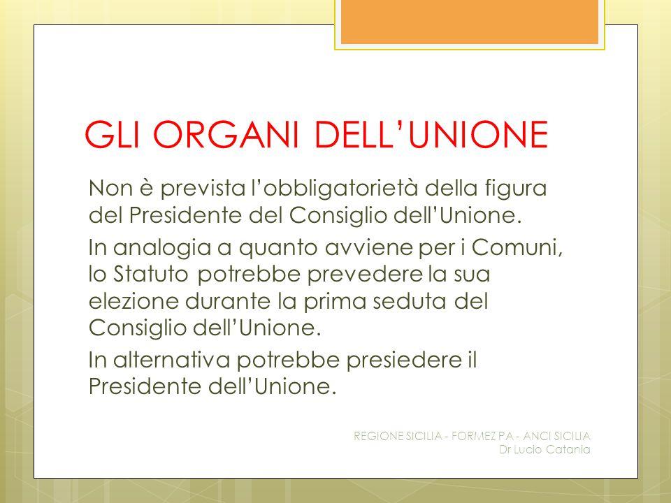 GLI ORGANI DELL'UNIONE Non è prevista l'obbligatorietà della figura del Presidente del Consiglio dell'Unione. In analogia a quanto avviene per i Comun