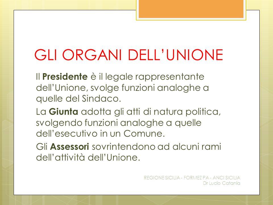 GLI ORGANI DELL'UNIONE Il Presidente è il legale rappresentante dell'Unione, svolge funzioni analoghe a quelle del Sindaco. La Giunta adotta gli atti