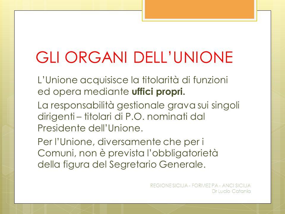 GLI ORGANI DELL'UNIONE L'Unione acquisisce la titolarità di funzioni ed opera mediante uffici propri. La responsabilità gestionale grava sui singoli d