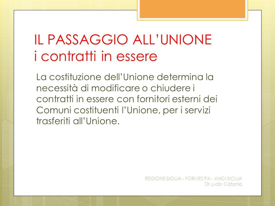 IL PASSAGGIO ALL'UNIONE i contratti in essere La costituzione dell'Unione determina la necessità di modificare o chiudere i contratti in essere con fo