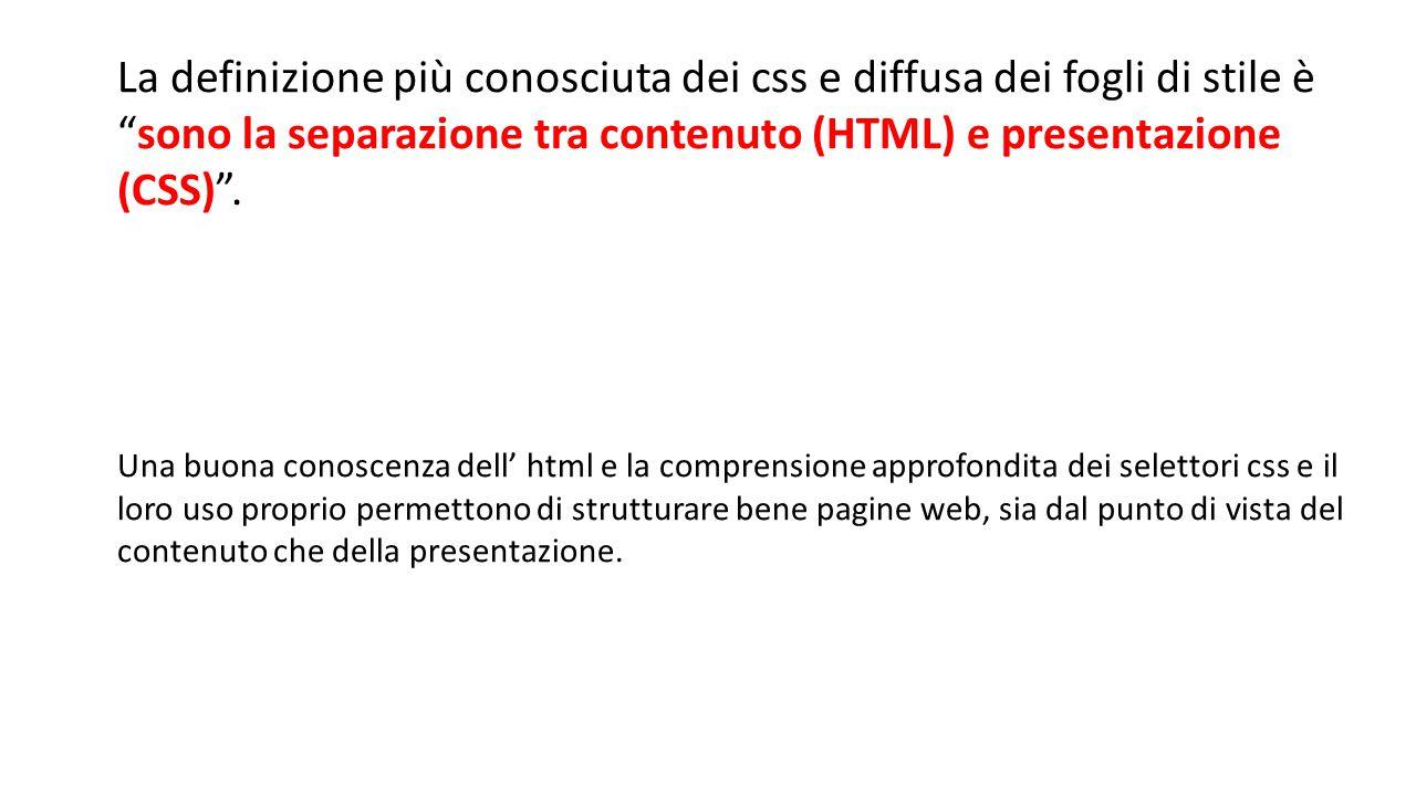 Quindi… Quindi il nostro ipotetico minisito sarà in genere composto da: 1 DIV per la pagina, che conterrà: 1 DIV per il menu 1 DIV per l'header 1 o piu DIV per i contenuti 1 DIV per il footer Ognuno di questi blocchi, avra determinate caratteristiche descritte da appositi selettori CSS.