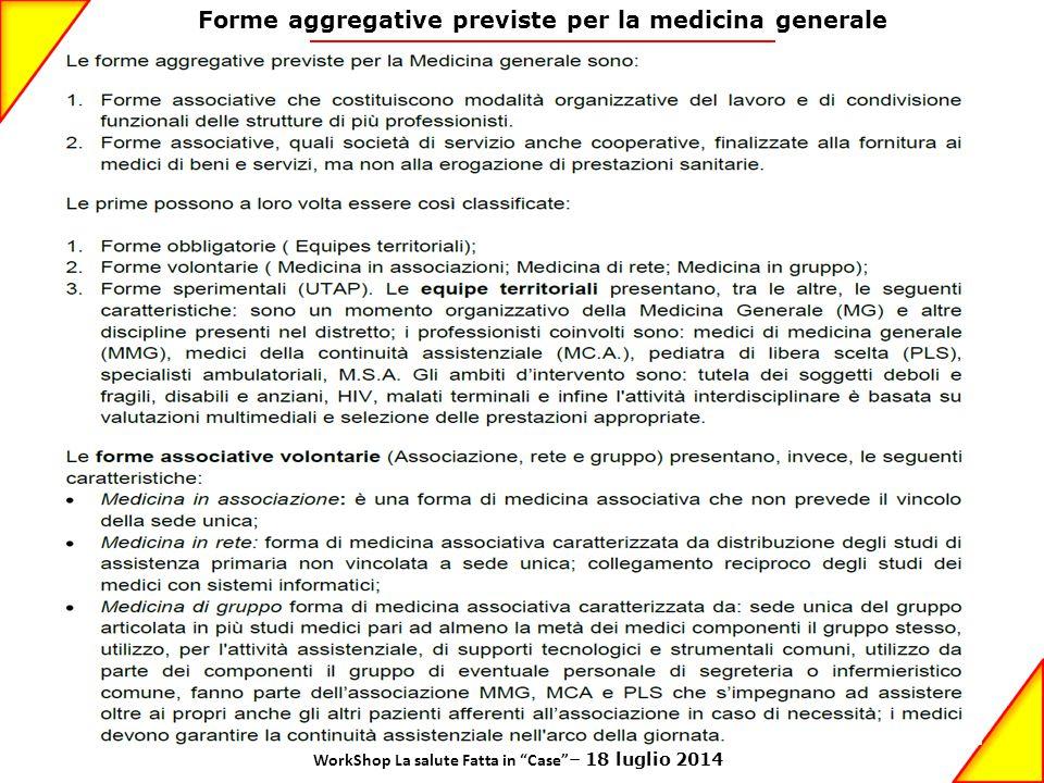 """Forme aggregative previste per la medicina generale WorkShop La salute Fatta in """"Case"""" – 18 luglio 2014"""
