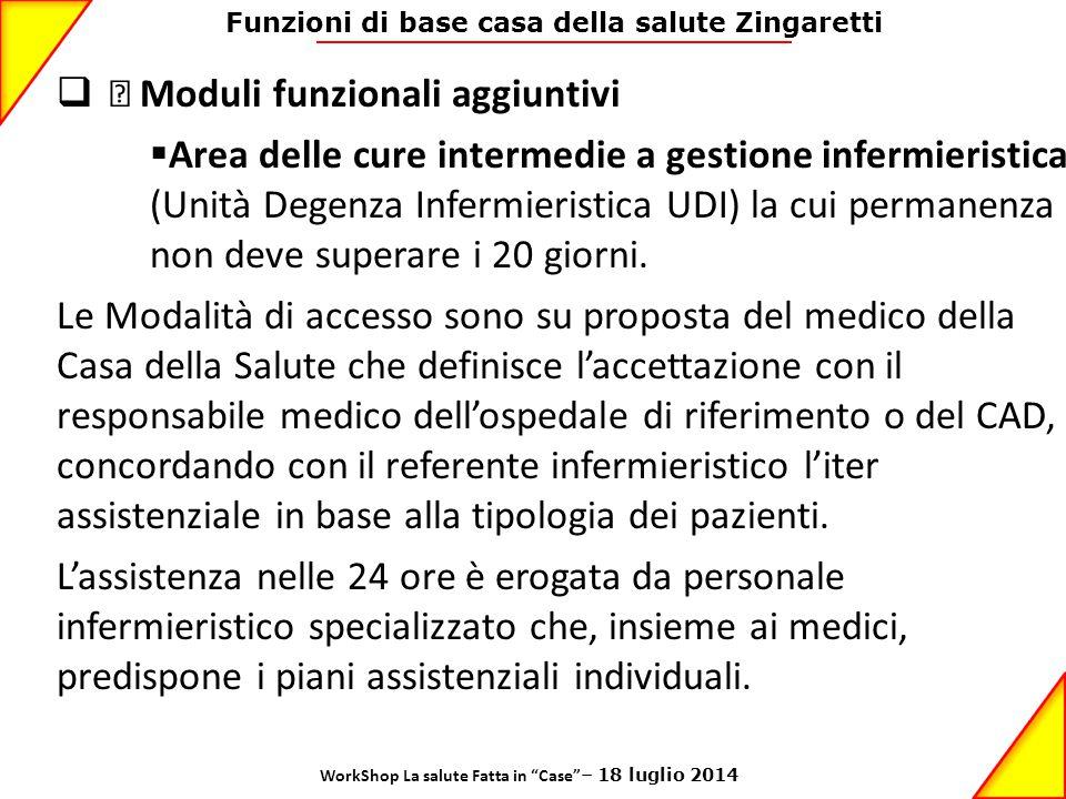 Funzioni di base casa della salute Zingaretti  • Moduli funzionali aggiuntivi  Area delle cure intermedie a gestione infermieristica (Unità Degenza