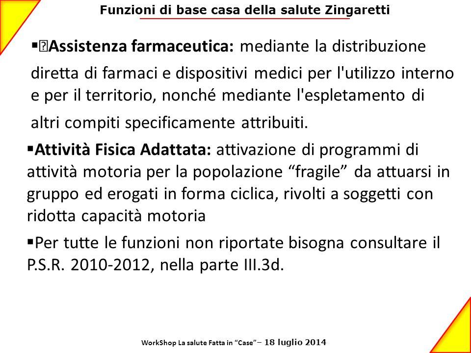 Funzioni di base casa della salute Zingaretti  •Assistenza farmaceutica: mediante la distribuzione diretta di farmaci e dispositivi medici per l'util