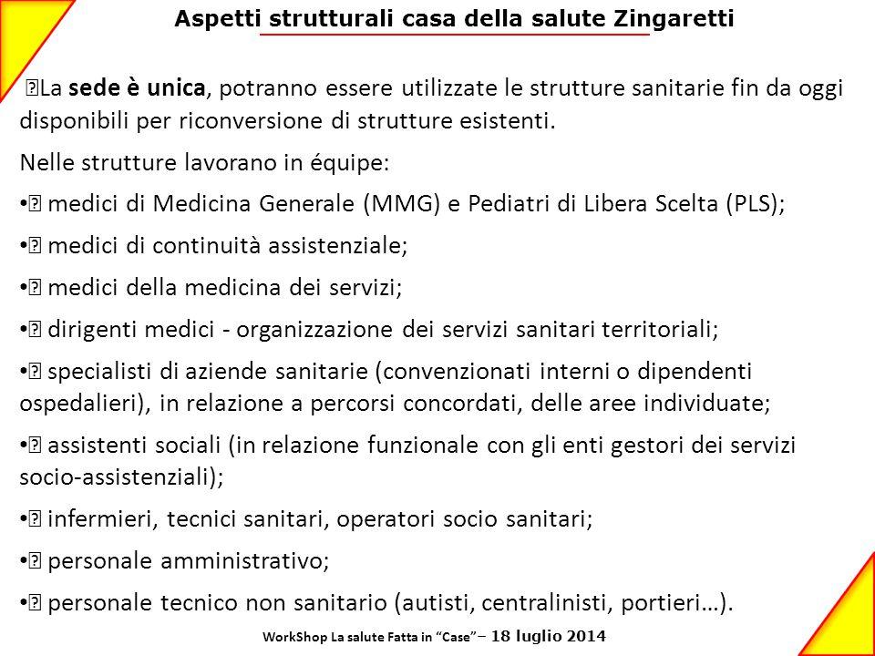 Aspetti strutturali casa della salute Zingaretti •La sede è unica, potranno essere utilizzate le strutture sanitarie fin da oggi disponibili per ricon