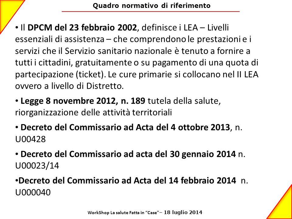 Quadro normativo di riferimento Il DPCM del 23 febbraio 2002, definisce i LEA – Livelli essenziali di assistenza – che comprendono le prestazioni e i