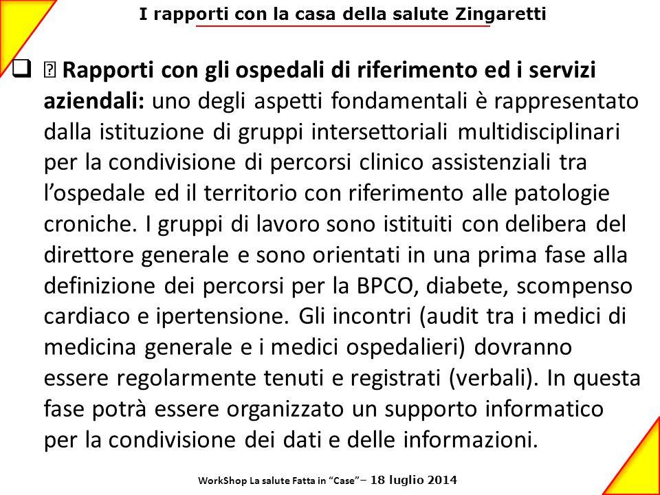 I rapporti con la casa della salute Zingaretti  • Rapporti con gli ospedali di riferimento ed i servizi aziendali: uno degli aspetti fondamentali è r