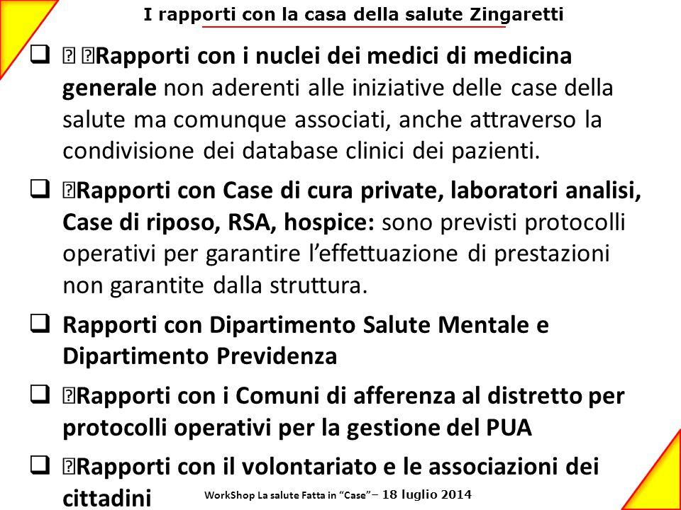 I rapporti con la casa della salute Zingaretti  • •Rapporti con i nuclei dei medici di medicina generale non aderenti alle iniziative delle case dell