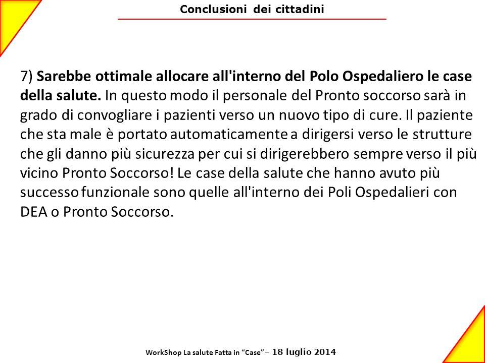 Conclusioni dei cittadini 7) Sarebbe ottimale allocare all'interno del Polo Ospedaliero le case della salute. In questo modo il personale del Pronto s